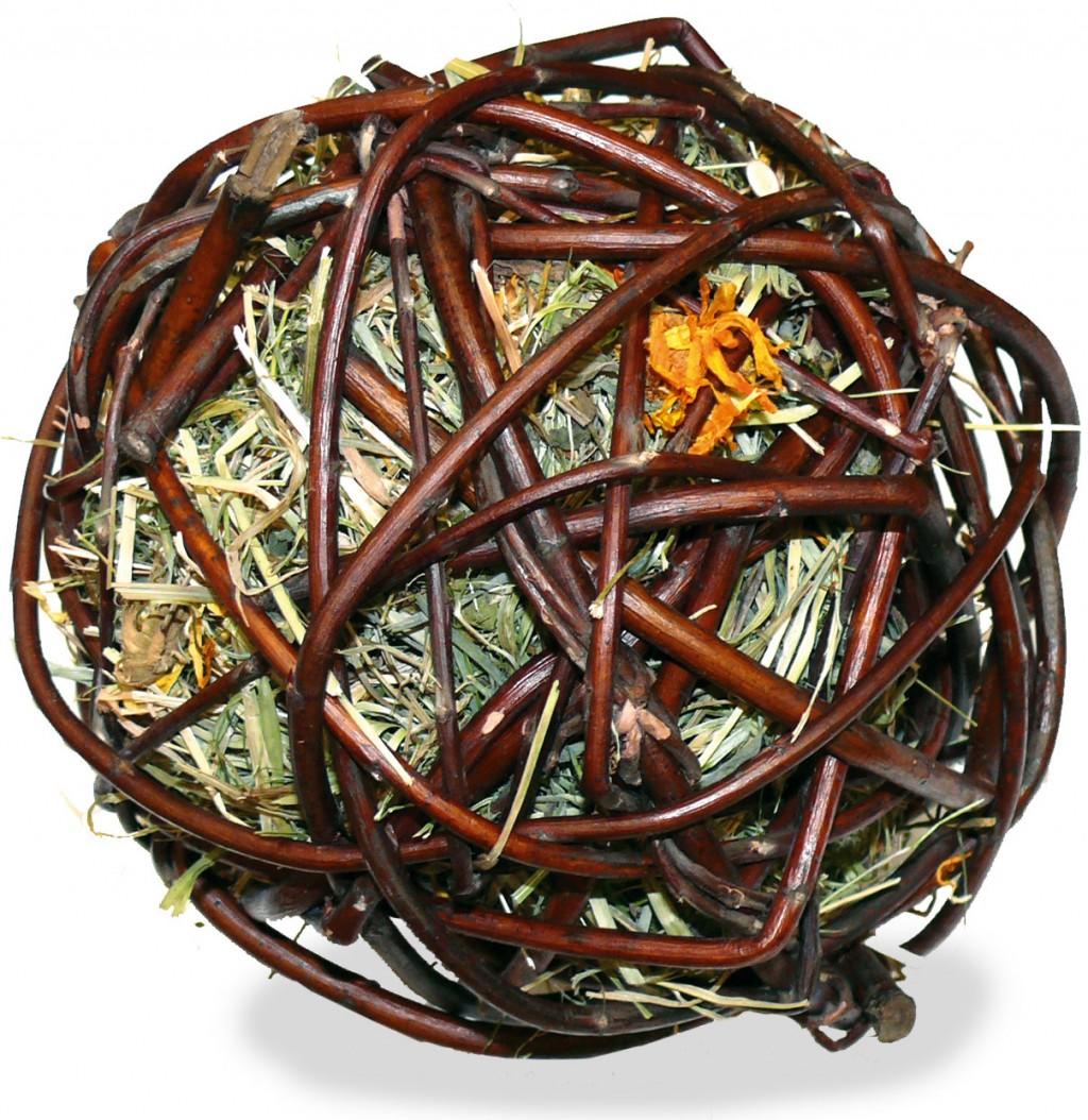 JR Farm Лакомство-игрушка для всех видов грызунов Ивовый шар с сеном и календулой, диаметр 13 см, вес 80 г