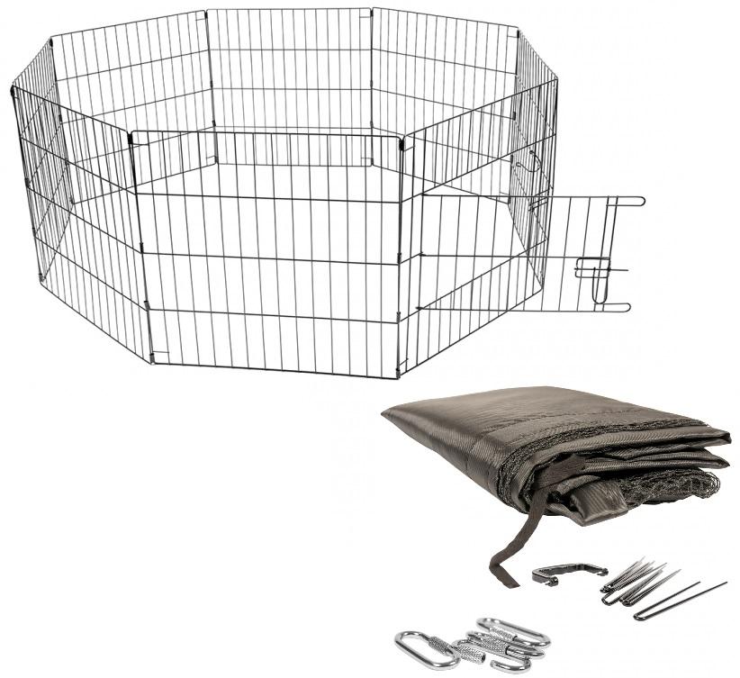 Дуво+ Вольер металлический для животных 150*60 см, с сеткой и фиксаторами, 8 секций, Duvo+