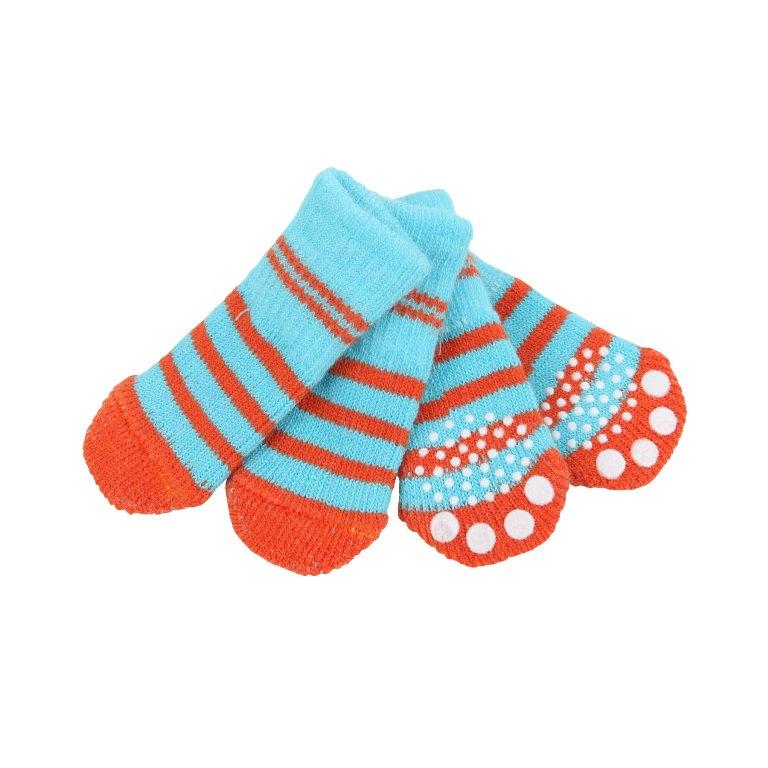 Паппи Носки Nitty-Gritty голубые с красными полосками, в ассортименте, Puppia