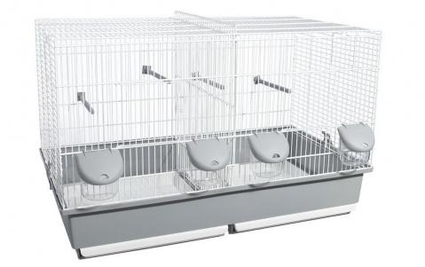 Вольтрега Клетка с разделительной решеткой, 70*40*44 см, белый/серый, Voltrega