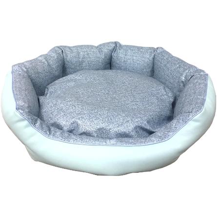 CLP Лежанка круглая Коллекция Экокожа 55*17 см для кошек и собак, в ассортименте, велюровый бортик, Comfort Line for Pets