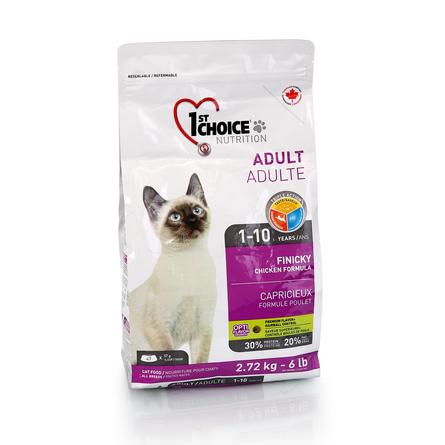 Корм Фест Чойс для привередливых кошек Cat Adult Finicky, Цыпленок, в ассортименте, 1st Choice