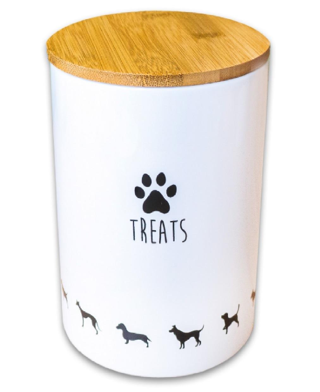 КерамикАрт Емкость Treats для хранения корма и лакомств для собак, 1,3 л, 12,5*14,5 см, белый, KeramikArt