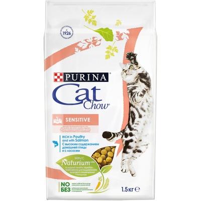 Кэт Чау Корм Special Care Sensitive для кошек с чувствительным пищеварением Лосось/Рис, в ассортименте, Cat Chow Purina