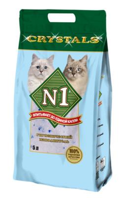 N1 Наполнитель Crystals cиликагелевый, синий, для кошачьего туалета, в ассортименте, N1