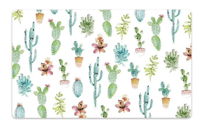 Тархонг Коврик под миски Cactus белый с рисунком, 48*29 см, TarHong
