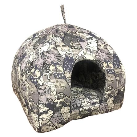 CLP Домик-яранга серая Коты, в ассортименте, хлопок, Comfort Line for Pets