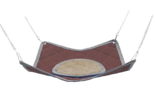 ШуШу Гамак Стандарт коричневый с мехом подвесной 30*30 см на металлических цепочках, Shu-Shu