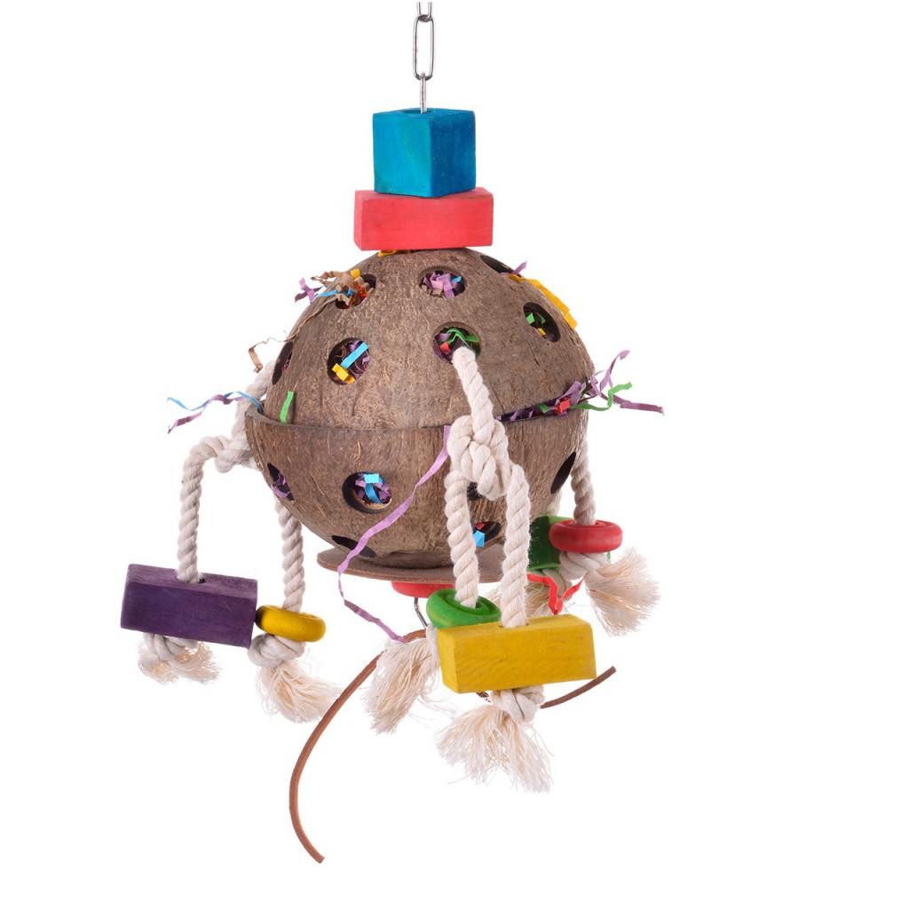 Хеппи Берд Игрушка для крупных птиц Кокосовая забава-2, 12*12*25 см, Happy Bird