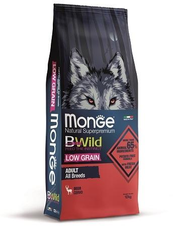 Монже Корм низкозерновой BWild LOW GRAIN для собак всех пород, Оленина, Monge