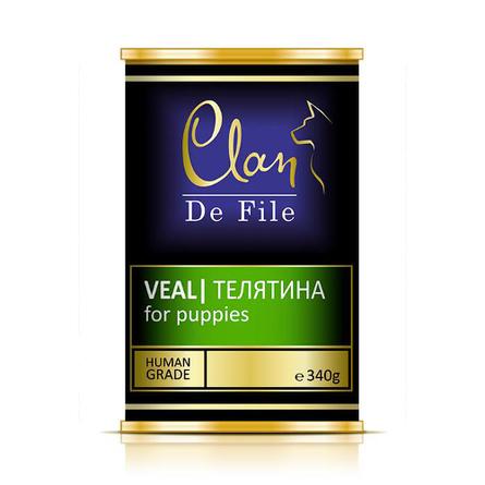 Клан Консервы Clan de File супер-премиум класса для щенков, Телятина, 340 г, Clan