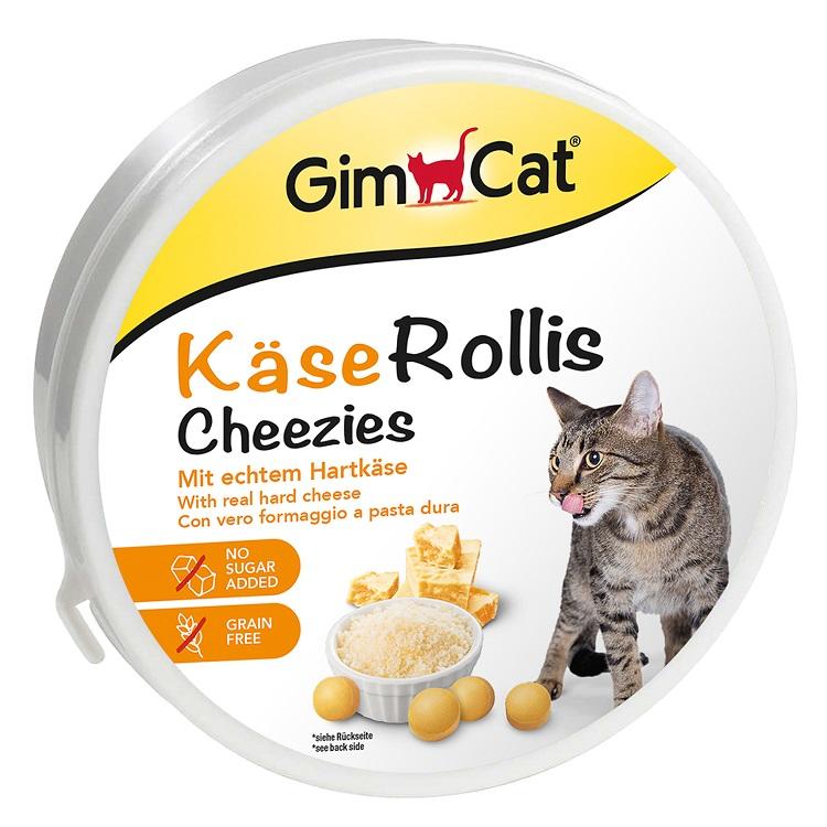 Джимкэт Витаминизированное лакомство Kase Rollis Cheezies (Сырные ролики) для кошек, в ассортименте, GimCat