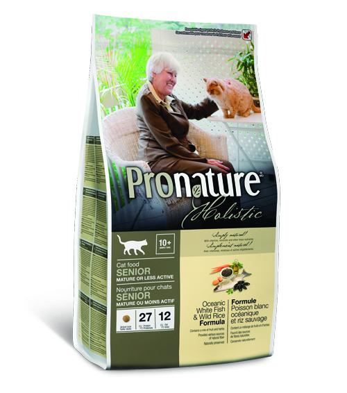Пронатюр Холистик Беззерновой Корм для кошек Senior облегченный Океаническая белая рыба/Рис 2,72 кг Pronature
