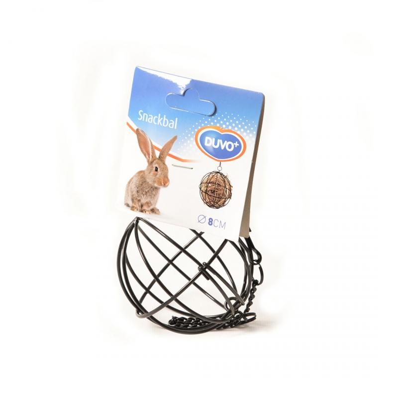 Дуво+ Подвесная кормушка-сенница для грызунов Шар черная, 8 см, Duvo+