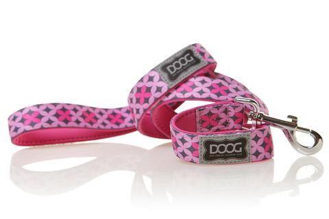 Дуг Поводок Toto, нейлон/неопрен, в ассортименте, розовый с узором, Doog