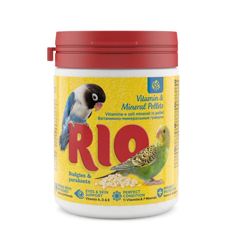 РИО витаминно-минеральные гранулы для волнистых и средних попугаев, 120 г, RIO