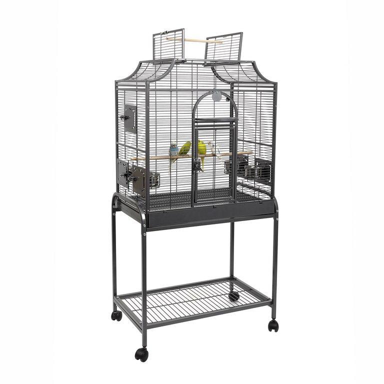 Скай Клетка для птиц Amazona-II на подставке, 81*53*93/152 см, серая, Sky
