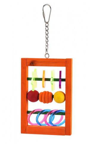 Скай Игрушка для птиц Счеты Acrylic Hanger, 15 см, дерево/акрил, металл, Sky