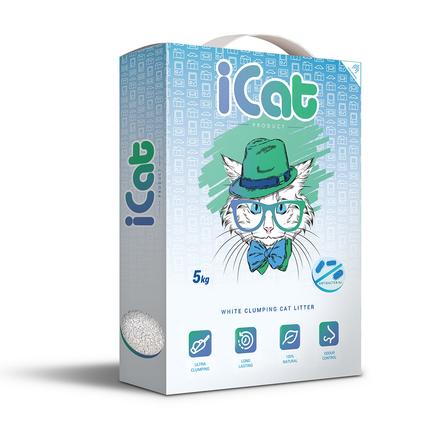 Айкет Наполнитель комкующийся белый для кошачьего туалета, в ассортименте, 5 кг, iCat