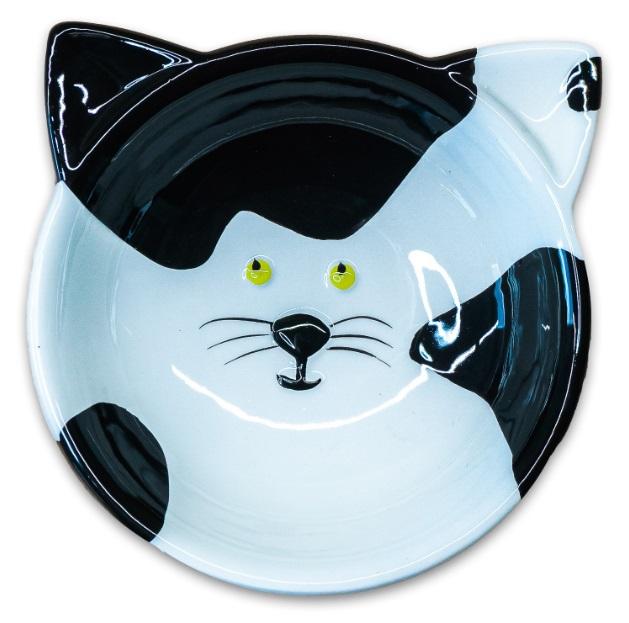 КерамикАрт Миска керамическая Мордочка кошки, 120 мл, 12,5*4,5 см, черно-белая, KeramikArt