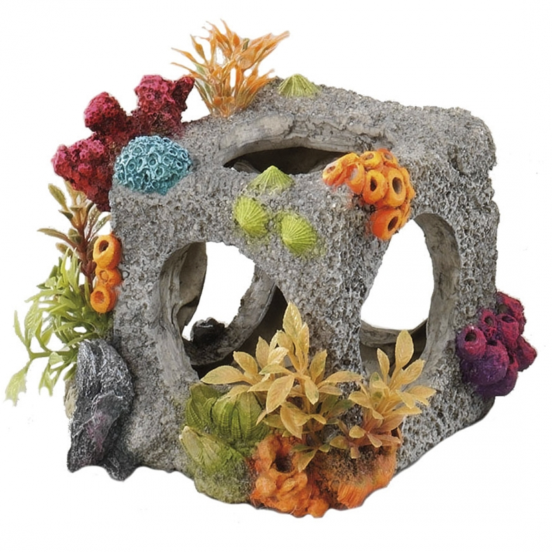 АкваДелла Декорация для аквариума Куб с кораллами серый, 12*11*11 см, AquaDella