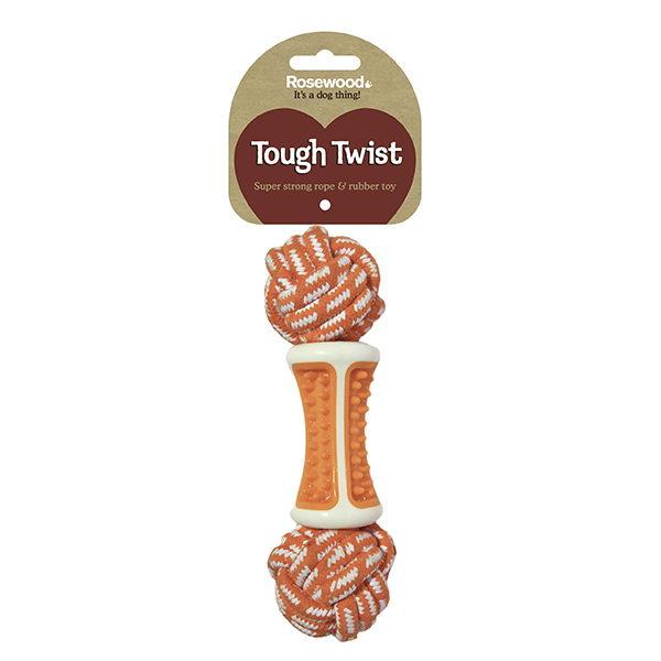 Роузвуд Игрушка для собак Dental Ball серия Tough Twist Кость веревочная с резиновым центром, оранжевая, 23 см, ТПР/хлопок, Rosewood