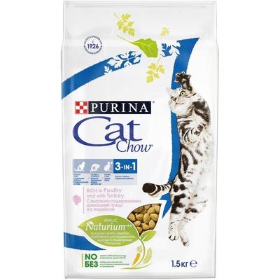 Кэт Чау Корм Feline 3in1 тройная защита для кошек профилактика МКБ, зубного камня, вывод шерсти, в ассортименте, Cat Chow Purina