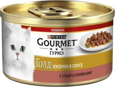 Консервы Gourmet Кусочки в соусе для кошек Утка/Оливки, 12*85 г, Gourmet