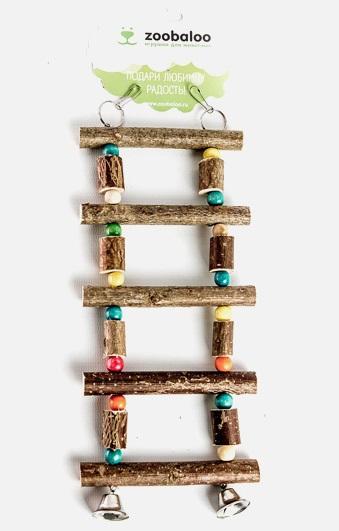 Зообалу Лестница Палочки/бочонки с бусинками для птиц, 27*10 см, орешник, Zoobaloo