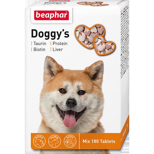 Беафар Витаминное лакомство для собак Doggy's Mix с таурином, биотином, протеином и печенью, 180 таб., Beaphar