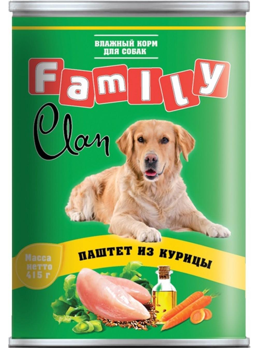 Клан Консервы FAMILY Паштет для собак, в ассортименте, 415 г, Clan
