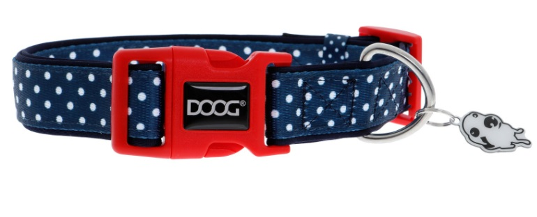 Дуг Ошейник Stella для собак, нейлон/неопрен, в ассортименте, синий в белый горох, Doog