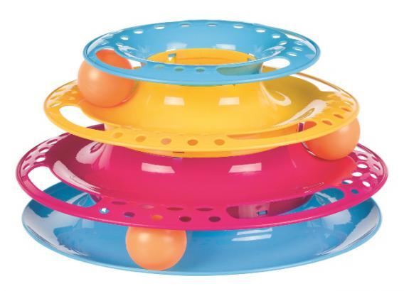 Трикси Игрушка для кошек Круглая башня с шариками Catch the Balls, 3 этажа, 25*13 см, цвет в ассортименте, Trixie