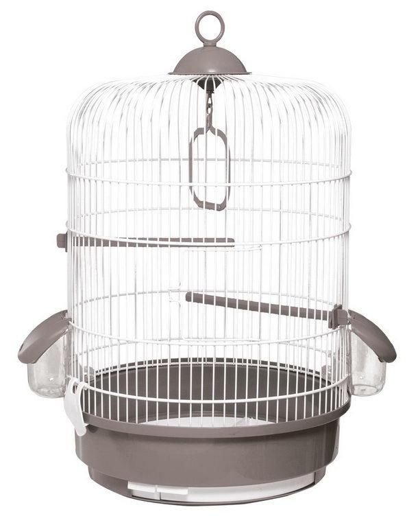 Вольтрега Клетка для птиц круглая, диаметр 32,5 см, высота 48 см, в ассортименте, белая эмаль, Voltrega