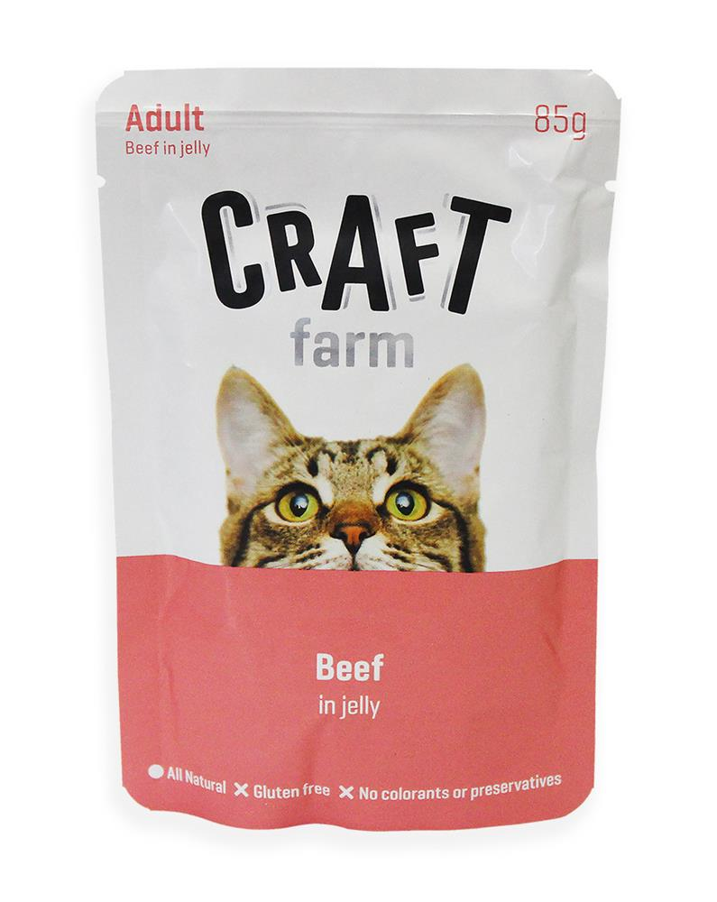 Крафт Фарм Паучи Adult для кошек Говядина в желе 12*85 г, Craft Farm
