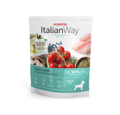 Италиан Вэй Корм сухой беззерновой Mini Ideal Weight Trout/Blueberry для собак мелких пород Контроль веса и профилактика аллергии, Форель/Черника, в ассортименте, Italian Way