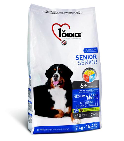 Корм Фест Чойс для пожилых собак средних и крупных пород Senior Medium/Large breeds, Курица, 7 кг, 1st Choice