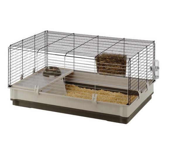 Ферпласт Клетка Krolik large для кроликов и морских свинок, 100*60*50 см серый или зеленый поддон, Ferplast
