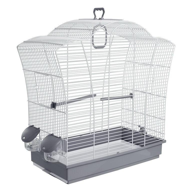 Вольтрега Клетка для птиц 57*27*57,5 см серый поддон/белая решетка, Voltrega