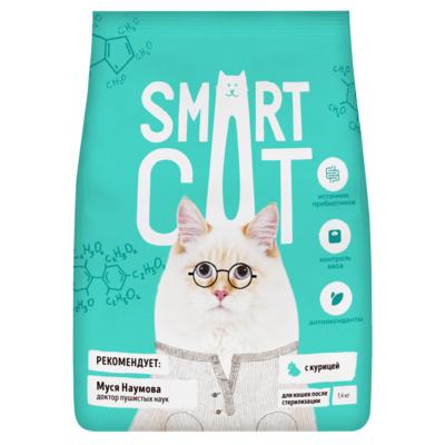 Смарт Кэт Корм для стерилизованных кошек, Курица, в ассортименте, Smart Cat