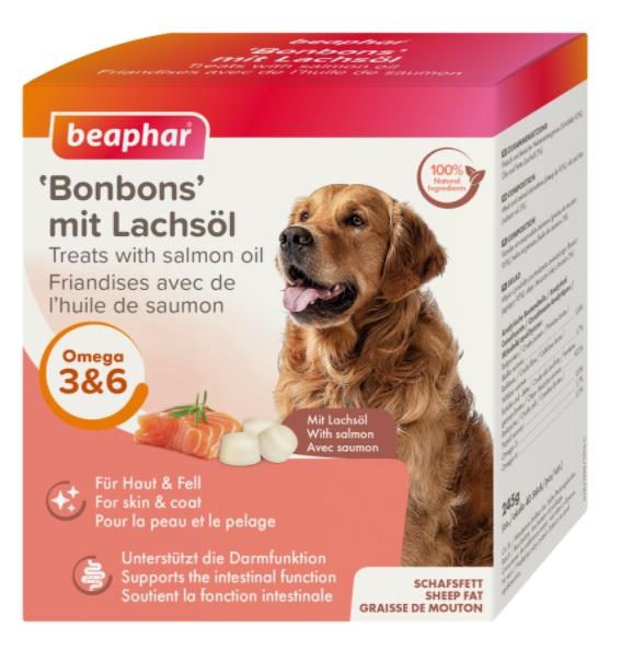 Беафар Лакомство для собак Bonbons Бараний жир с лососем 40 шт / 245 г, Beaphar