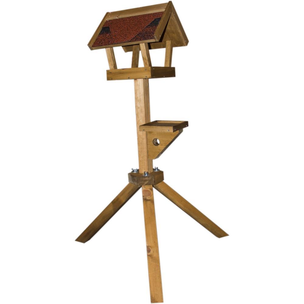 ПарротсЛаб Кормушка деревянная с подставкой для птиц и грызунов, 34*35,5*34 см, высота 121 см, ParrotsLab