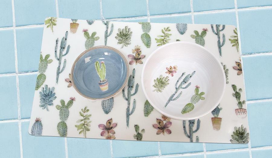 Тархонг Миска для кошек и собак Cactus голубая с рисунком, 13*2,8 см, 180 мл, меламин, TarHong