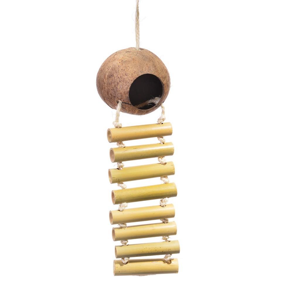 Хеппи Берд Игрушка для птиц Кокосовый домик с бамбуковой лесенкой, 55*14 см, Happy Bird