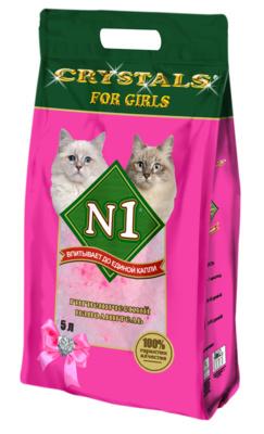 N1 Наполнитель силикагелевый Crystals for Girls розовый для кошачьего туалета, в ассортименте, N1