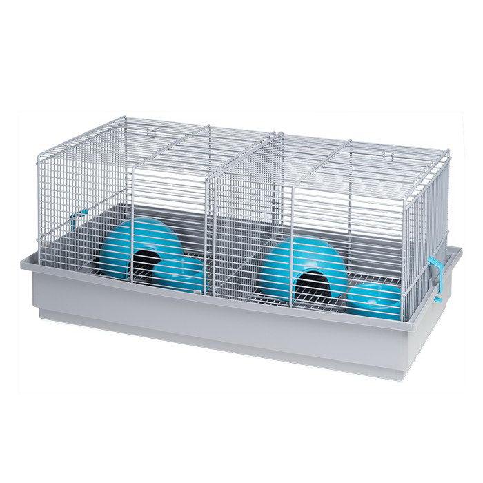 Вольтрега Клетка с разделительной решеткой для мелких грызунов, 50*28*22,5 см серая, Voltrega