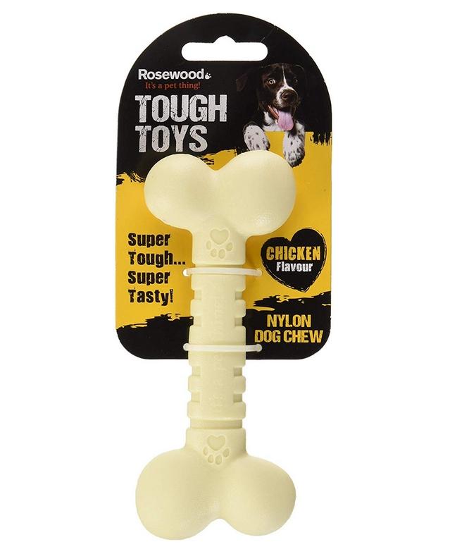 Роузвуд Игрушка Tough Toys Chicken Кость бежевая с ароматом курицы, в ассортименте, Rosewood