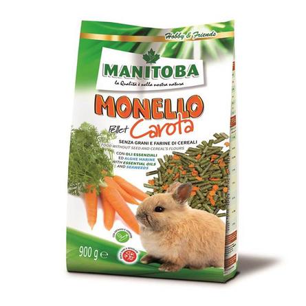 Манитоба Корм Monello Pellet Carota безглютеновый с морковью для кроликов 900 г, Manitoba