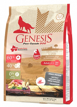 Генезис Корм Pure Canada Shallow Land Soft (Равнина) с повышенной влажностью для собак с чувствительным пищеварением, Ягненок, в ассортименте, Genesis