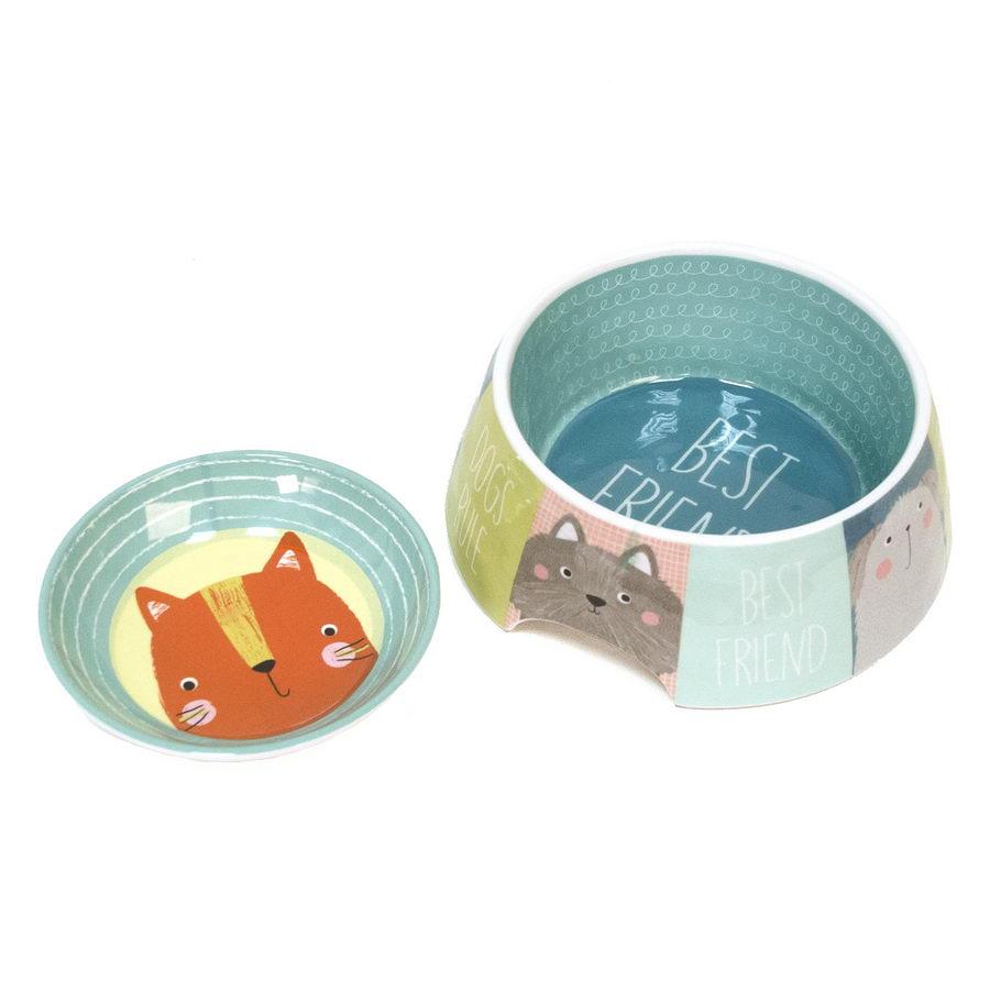 Тархонг Миска для кошек и собак Best Friends голубая с рисунком, в ассортименте, меламин, TarHong